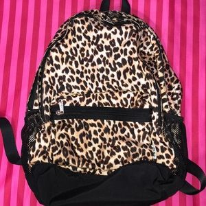 Victoria's Secret PINK leopard black backpack